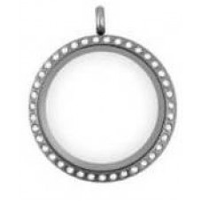 N00-00020 25MM Silver Round Floating Charm Necklace