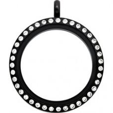 N00-00022 25MM Black Round Locket Necklace