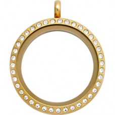 N00-00026 25MM Gold Round Floating Charm Necklace
